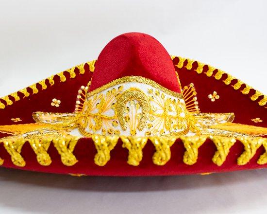 メキシコ製高級ソンブレロ(赤金)【画像2】