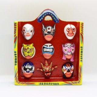 雑貨 ルチャリブレ 9個のマスク 壁掛け赤