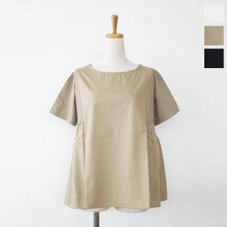 mao made (マオメイド) カットソー サイドギャザー 半袖 コットン 異素材切替 021209