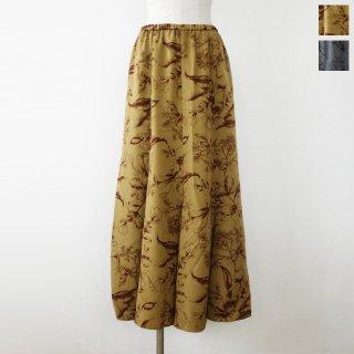 anana (アナナ) ロング スカート フラワープリント ウエストゴム ウォッシャブル n20a813 ◆