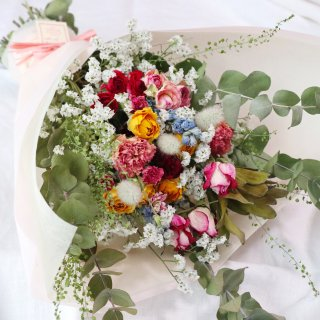 【受注制作】スワッグになるドライフラワーの花束