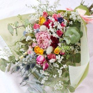 【受注制作】スワッグになるドライフラワーの花束(お花増量)