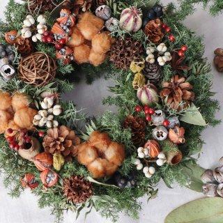 クリスマスリース 大 コットンと木の実