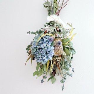 秋色紫陽花とバンクシアのスワッグ(大)