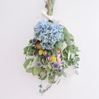 秋色紫陽花とユーカリのスワッグ(中) C