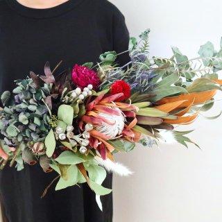秋色紫陽花とプロテアのスワッグ(大)