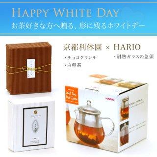 ハリオ製耐熱ガラスの急須 お茶とお菓子のセット(チョコクランチ・白煎茶)バレンタイン特別包装&のし teapot-set-02