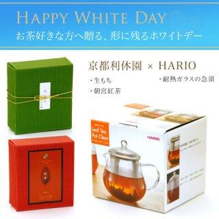 ハリオ製耐熱ガラスの急須 お茶とお菓子のセット(生もち・朝宮紅茶)特別包装&のし teapot-set-06