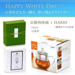 ハリオ製耐熱ガラスの急須 お茶とお菓子のセット(生もち・白煎茶)バレンタイン特別包装&のし teapot-set-05