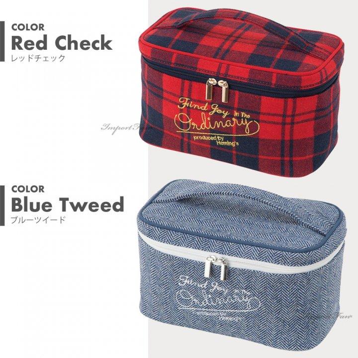 たっぷり収納できるシェリバニティ コスメポーチ メイクブラシが入るポケットにPVCカバー付 化粧ポーチ 赤 ベージュ ブルー ツイード