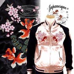3RSJ-702 桜と金魚刺繍スカジャン