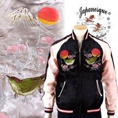 3RSJ-751 梅と鶯刺繍スカジャン
