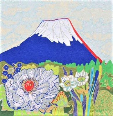 片岡球子・牡丹に富士山 45cm