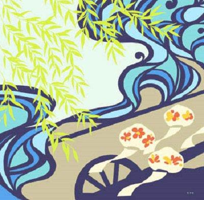 超撥水ふろしき ながれ かぶき柳