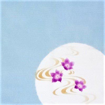 手描き 流水と桔梗 水色(45cm)