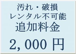 汚れ・破損 レンタル不可能 追加料金 2,000円
