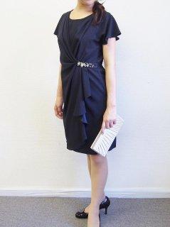 アシンメトリードレープドレス(ブラック)【DR0151】