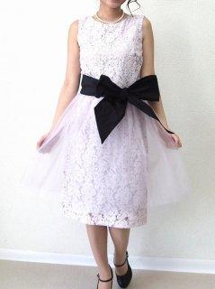 レースチュールスカート付きドレス(ラベンダー)【DR0237】