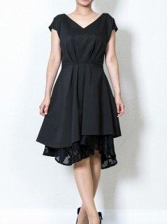 アシンメトリーヘムレースレイヤードドレス(ブラック)【DR0278】