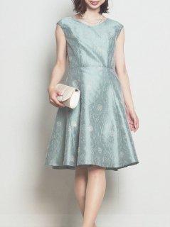 ラメ入りフラワーカットジャガードドレス(グリーン)【DR0310】