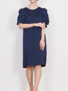 光沢サテンフリル袖ドレス(ネイビー)【DR0407】