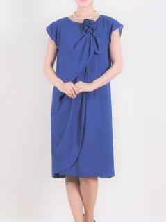 シフォンフロントドレープドレス(ブルー)*【DR0339】