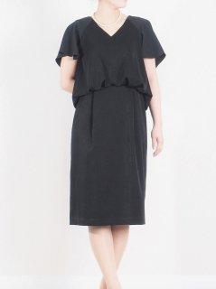 フレアースリーブドレス(ブラック)(Sサイズ)【DR0353】