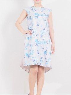 花柄×プリーツドレス(ラベンダー)【DR0356】