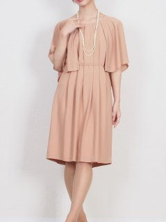 ケープスリーブドレス(オレンジベージュ)【DR0405】