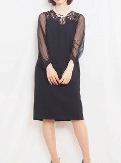チュール袖ドレス(ブラック)【DR0417】