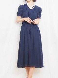 セミロング丈ドレス(ネイビー)【DR0416】