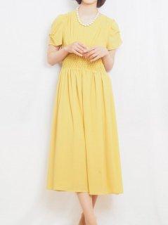 セミロング丈ドレス(イエロー)【DR0413】