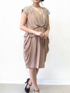 袖パール飾り付きドレス(ベージュ)【DR0022】