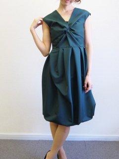 フロントクロスバルーンドレス(グリーン)【DR0185】