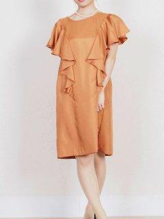 サテンフリル袖ドレス(オレンジ)【DR0214】