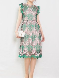 チュール刺繍レースタイトドレス(グリーン)*【DR1009】