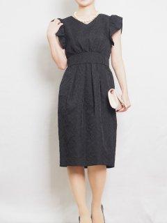 ジャガードタイトドレス(ブラック)【DR1013】