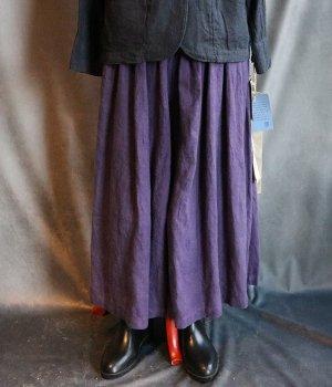 草木染起毛リネンギャザーパンツ紫
