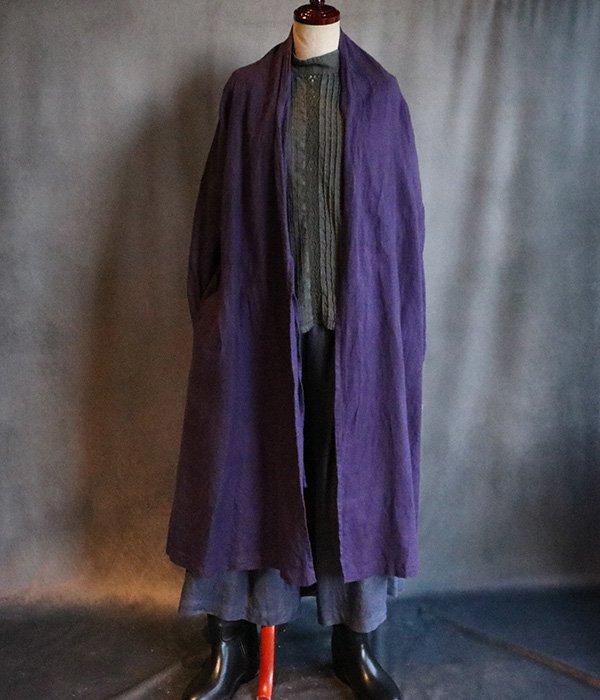 草木染起毛リネンローブコート:紫#2029