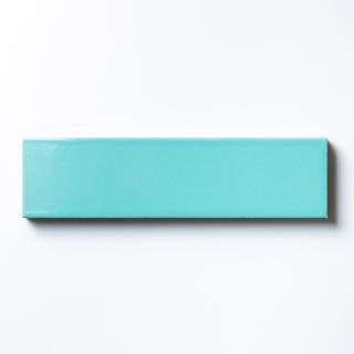 【サンプル請求】エッジが効いた個性派タイル ターコイズブルー 二丁掛|オリジナルタイル通販のタイルメイド