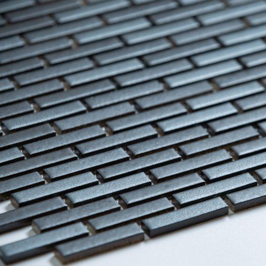 オリジナルタイル通販のタイルメイド モノタイル メタルブラック レンガ貼り 15シート入
