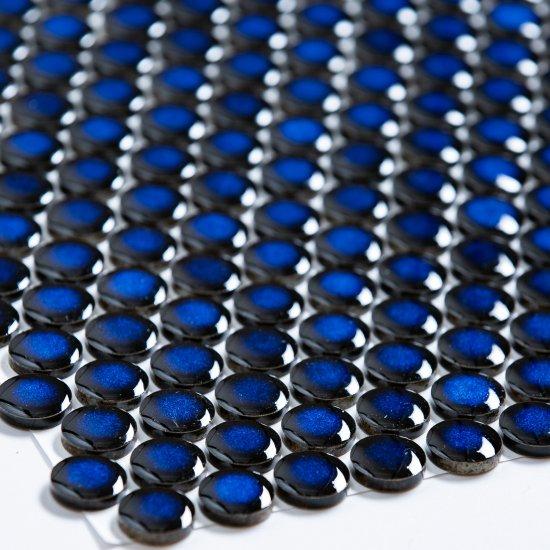 オリジナルタイル通販のタイルメイド 19mm丸 青むらタイル 15シート入
