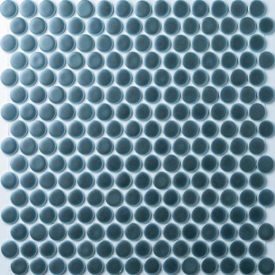 オリジナルタイル通販のタイルメイド 19mm丸 メタルブルータイル 15シート入