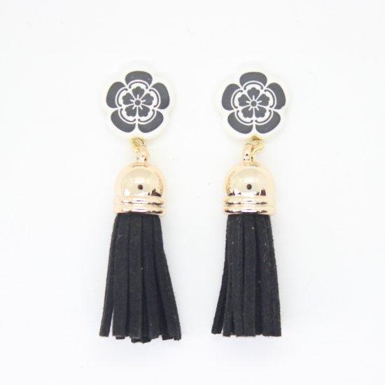 オリジナルタイル通販のタイルメイド 織田信長フリンジ付ピアス(黒)