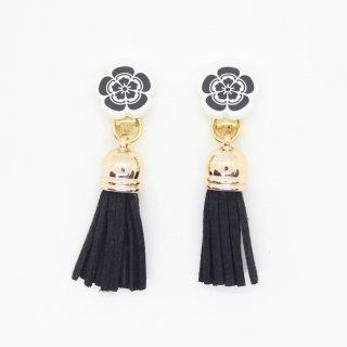 織田信長フリンジ付イヤリング(黒)|オリジナルタイル通販のタイルメイド
