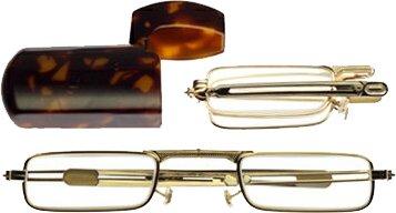ミニフォールド 老眼鏡/シニアグラス 角型ゴールド