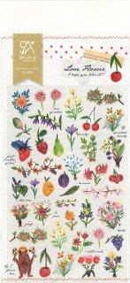 ミニスケッチシール もぐらからの かわいいフルーツと 小さな花束