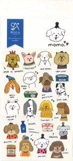 ミニスケッチシール わんこ 犬のスマイルフェイス MOMO