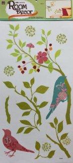 大きなサイズ 壁に貼って剥がせる デコウォールステッカー 花 鳥(花柄)