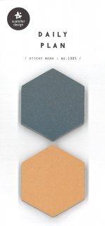 プランデコジャーナルで使える デイリープランステッカー 6角形 付箋 2色 各50シート